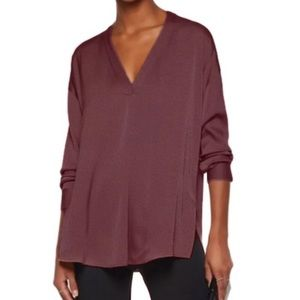 s.Oliver Wine Red V Cut Tunic Long Sleeve Blouse